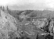 A panoramic view of Hoole Canyon, Pelly River August 1923.