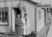 Berent and Margrethe Hougen in front of the Rawleigh store in 1944.